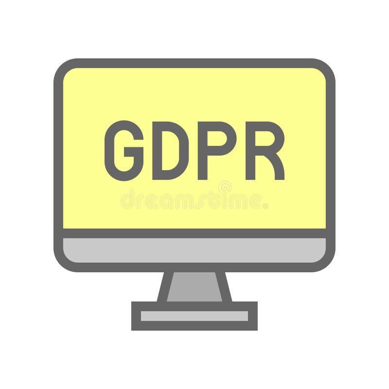 De Gegevensbeschermingverordening van GDPR Algemeen pictogram, gevulde stijl stock illustratie