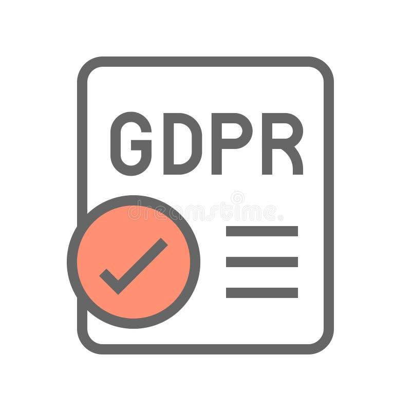 De Gegevensbeschermingverordening van GDPR Algemeen pictogram, gevulde stijl vector illustratie