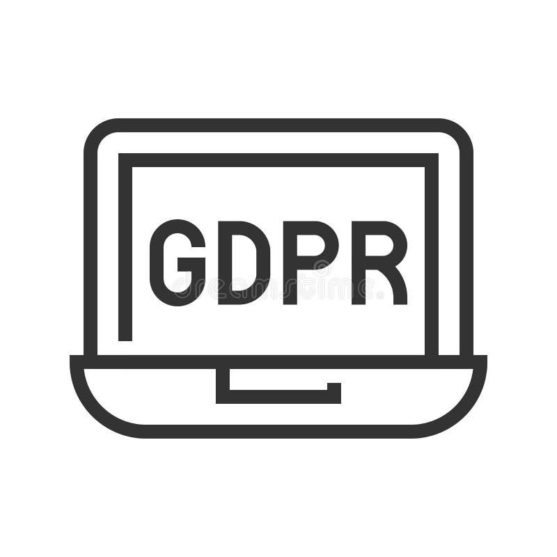 De Gegevensbeschermingverordening van GDPR Algemeen pictogram, lijnstijl royalty-vrije illustratie