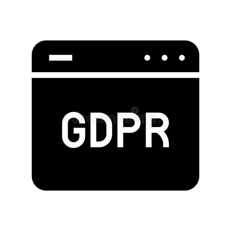 De Gegevensbeschermingverordening van GDPR Algemeen pictogram, stevige stijl royalty-vrije illustratie
