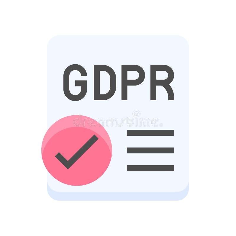 De Gegevensbeschermingverordening van GDPR Algemeen pictogram, vlakke stijl stock illustratie