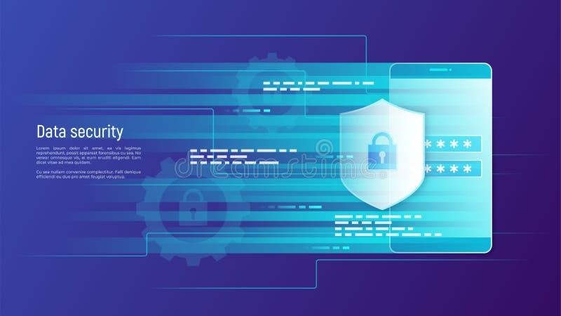 De gegevensbeveiliging, informatiebescherming, toegangsbeheervector bedriegt stock illustratie