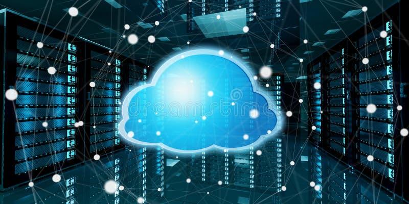 De gegevenscentrum van de serverruimte met wolken het blauwe pictogram 3D teruggeven vector illustratie