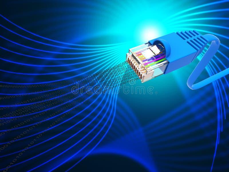 De gegevensverbinding vertegenwoordigt Globale Mededelingen en Computer stock illustratie