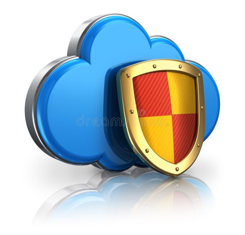 De gegevensverwerking en de opslag van de wolk veiligheidsconcept vector illustratie