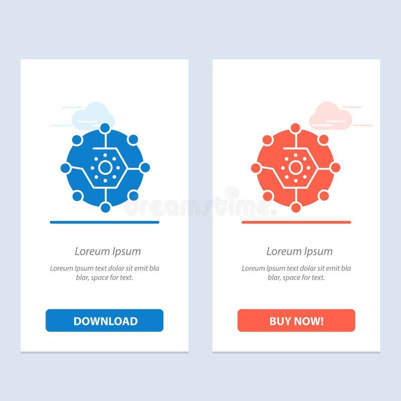 De gegevensverwerking, Gegevensverwerkingsaandeel, Connectiviteit, Netwerk, deelt Blauwe en Rode Download en koopt nu de Kaartmal vector illustratie