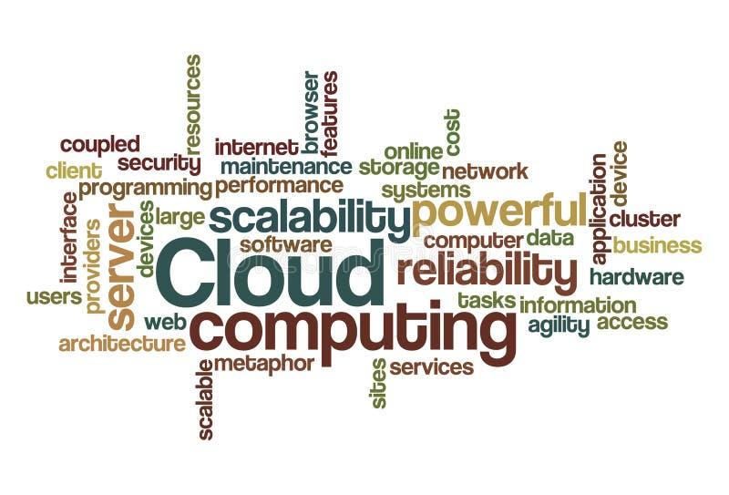 De gegevensverwerking van de wolk - de Wolk van Word stock illustratie
