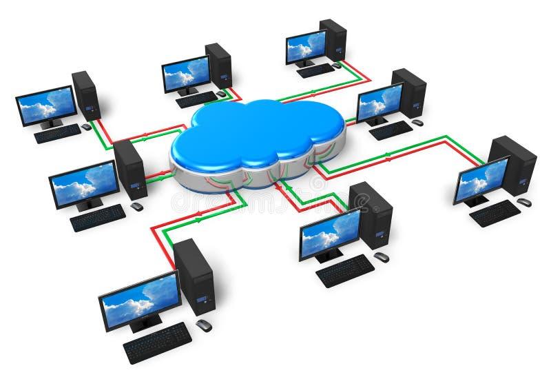 De gegevensverwerking van de wolk en computervoorzien van een netwerk concept royalty-vrije illustratie