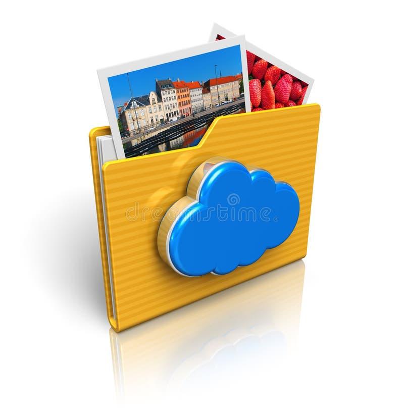 De gegevensverwerking van de wolk en media opslag concept stock illustratie
