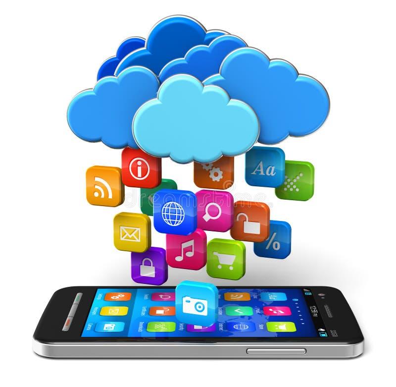 De gegevensverwerking van de wolk en mobiliteitsconcept royalty-vrije illustratie
