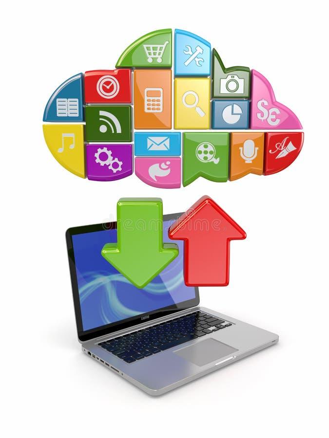De gegevensverwerking van de wolk. Laptop en pictogrammensoftware. stock illustratie