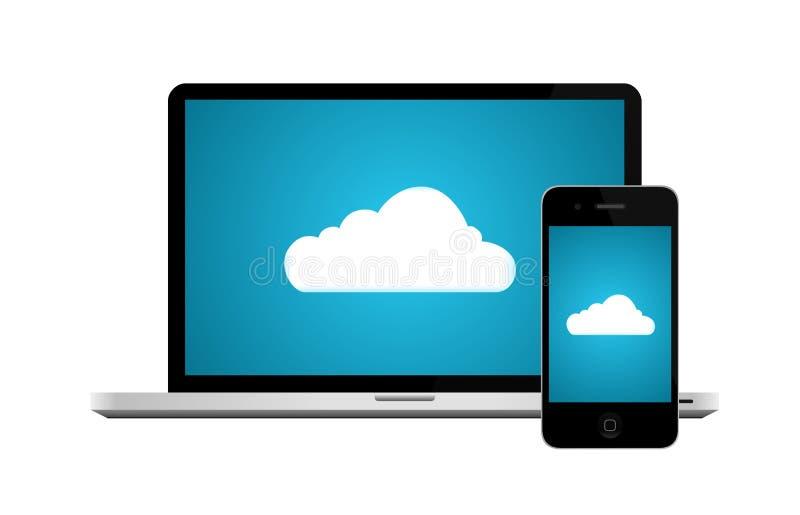 De gegevensverwerkingsaansluting van de wolk stock illustratie