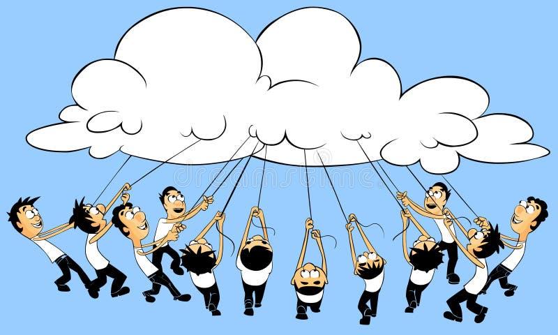 De gegevensverwerkingsconcept van de wolk. royalty-vrije illustratie