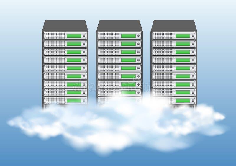 De gegevensverwerkingsconcept van de wolk met servers royalty-vrije illustratie