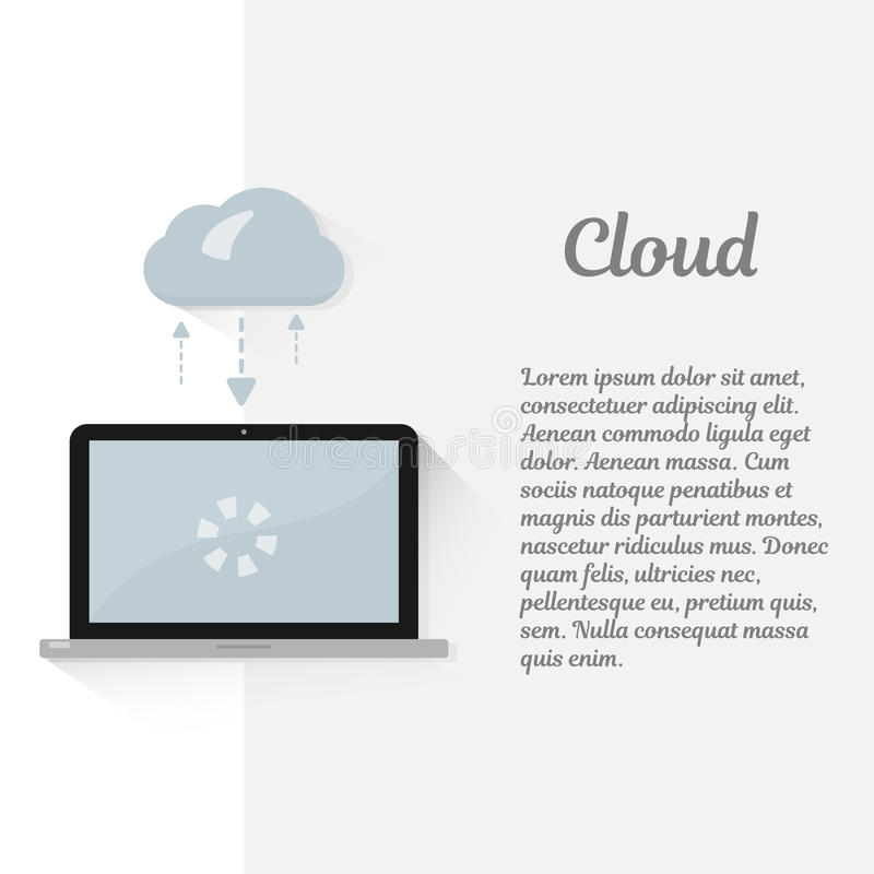 De gegevensverwerkingsconcept van de wolk Modern Illustratieontwerp Transmissie en opslag van informatie Draadloze technologie In vector illustratie