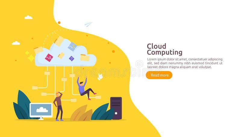 De gegevensverwerkingsconcept van de wolk E stock illustratie