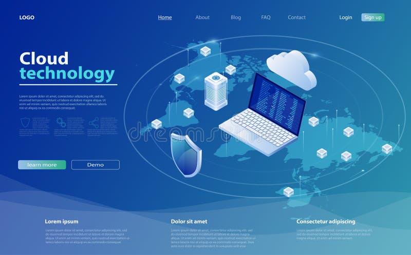De gegevensverwerkingsconcept van de wolk De isometrische vectorillustratie van de wolkenopslag Online gegevensverwerkingstechnol vector illustratie