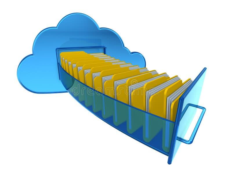 De gegevensverwerkingsdocumenten van de wolk stock illustratie