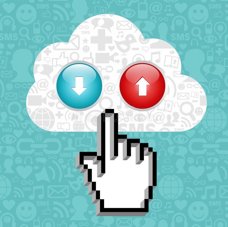 De gegevensverwerkingsknoop van de wolk en curseurhand. royalty-vrije illustratie