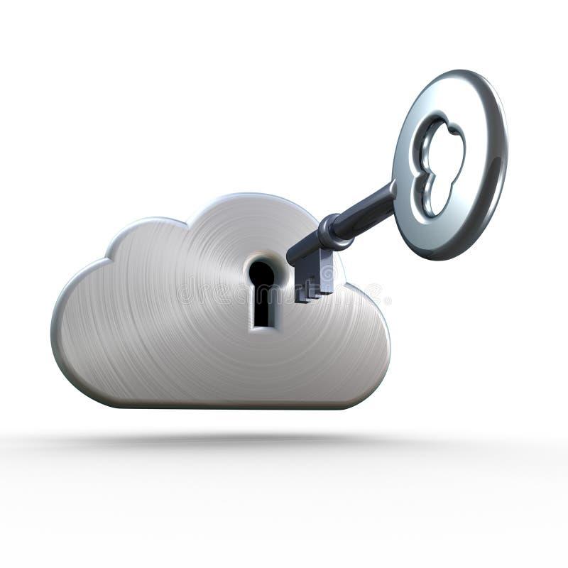 De gegevensverwerkingsveiligheid en cryptology van de wolk stock illustratie
