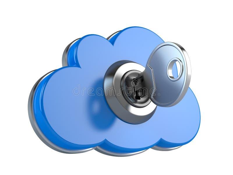 De gegevensverwerkingsveiligheid van de wolk vector illustratie
