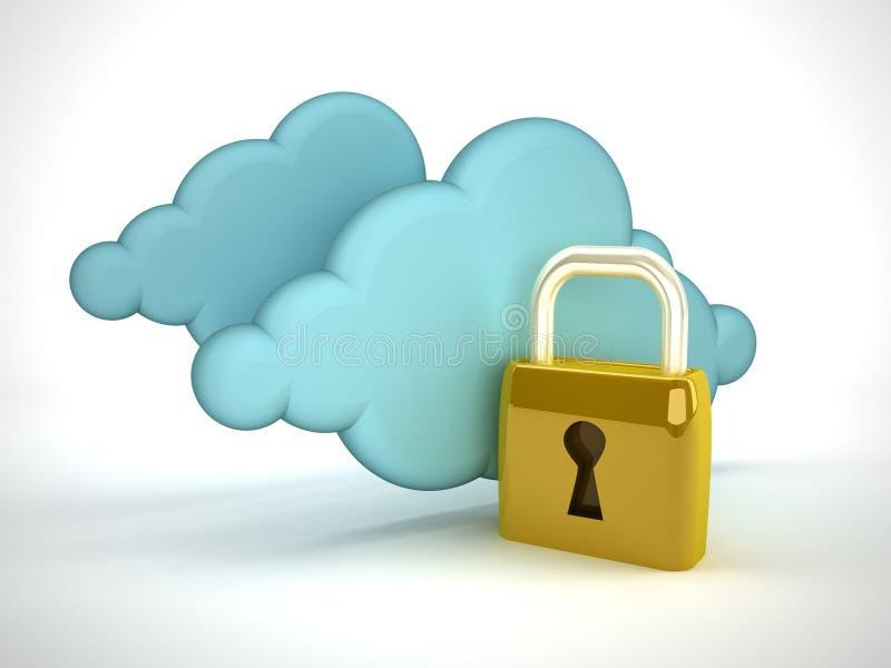 De gegevensverwerkingsveiligheid van de wolk stock illustratie