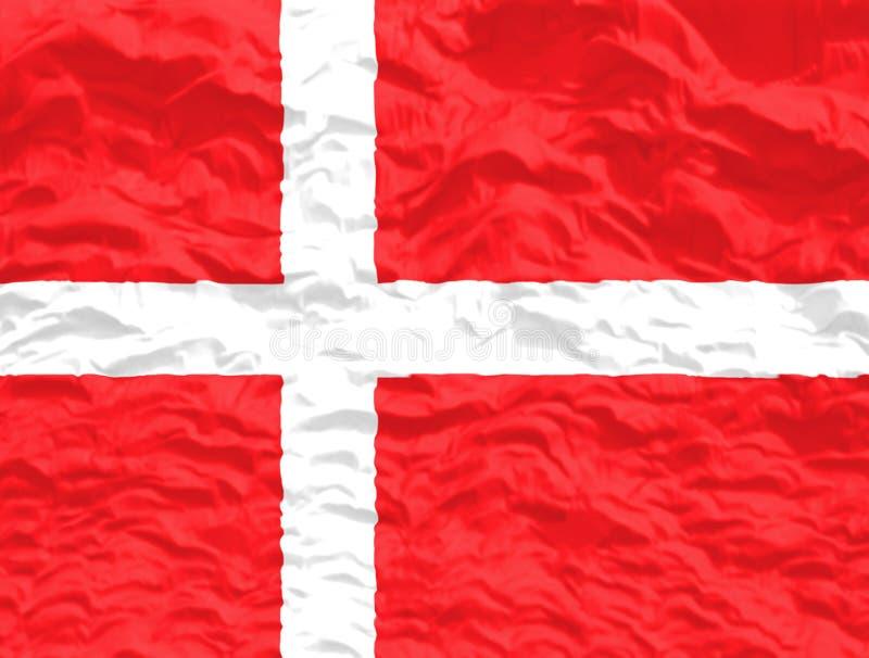 De gegolfte Vlag van Denemarken stock foto
