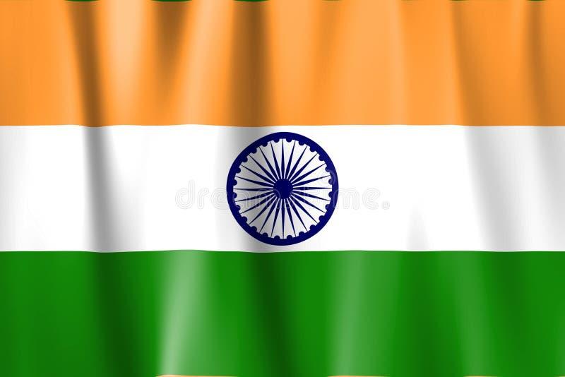 De gegolfte Vlag van India stock illustratie
