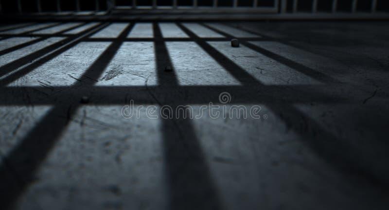 De Gegoten Schaduwen van de gevangeniscel Bars stock afbeelding
