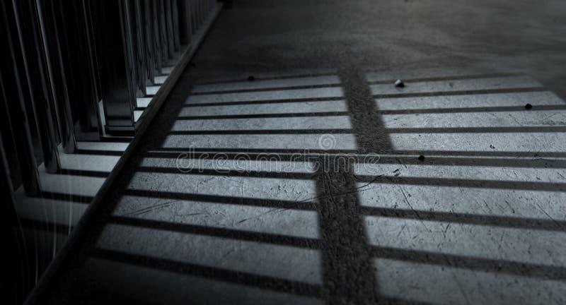 De Gegoten Schaduwen van de gevangeniscel Bars stock afbeeldingen