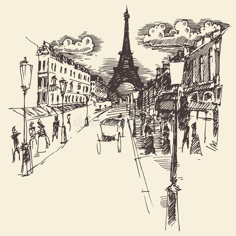 De Gegraveerde Getrokken Hand van stratenparijs Frankrijk Wijnoogst royalty-vrije illustratie