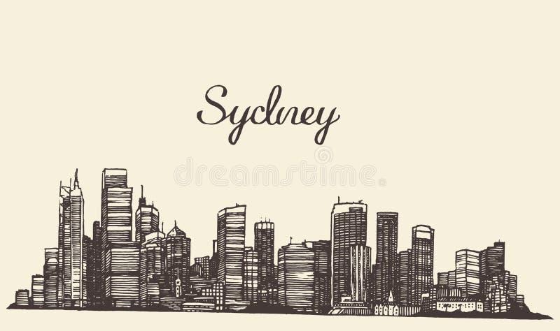De gegraveerde hand getrokken schets van Sydney horizon royalty-vrije illustratie