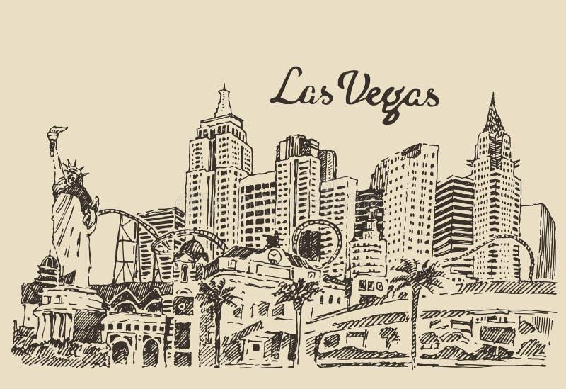 De gegraveerde vectorillustratie van Las Vegas horizon royalty-vrije illustratie