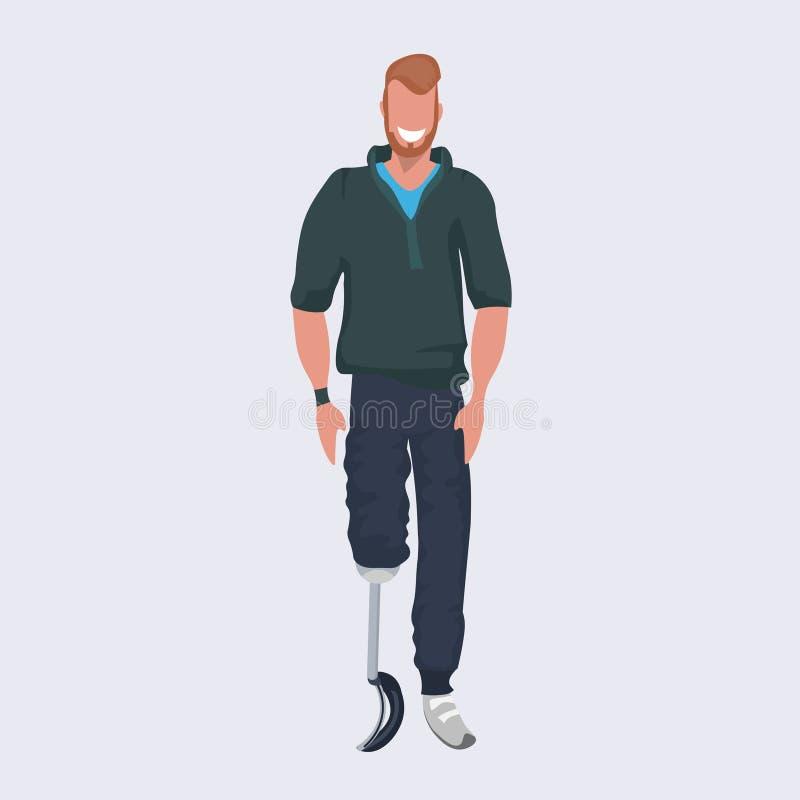 De gehandicapte glimlachende mens met prothese kunstmatig been die stelt vlakke volledige lengte bevinden zich royalty-vrije illustratie