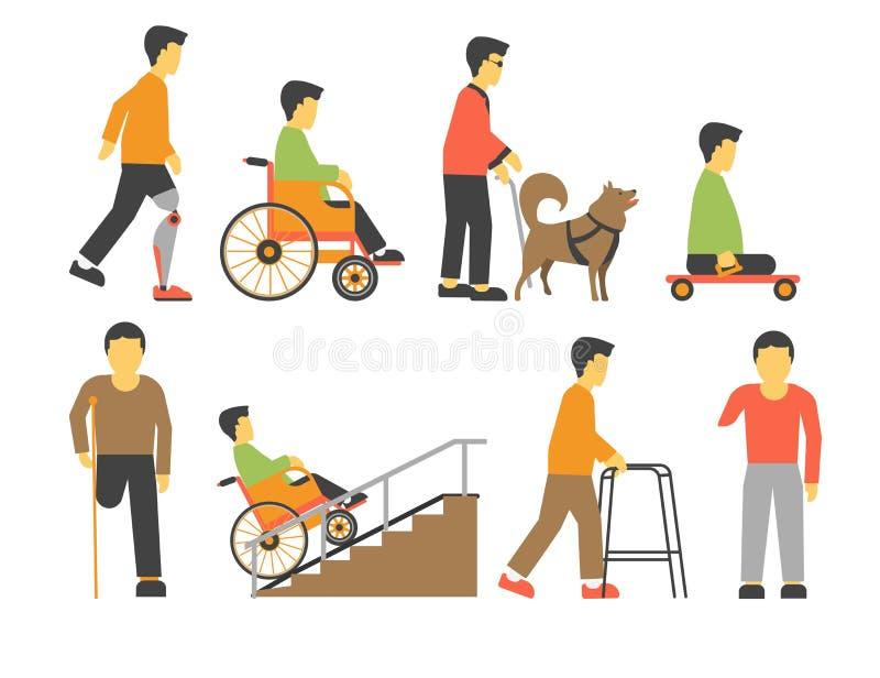 De gehandicapte mensen met handicap beperkten fysieke kansen vectorpictogrammen royalty-vrije illustratie
