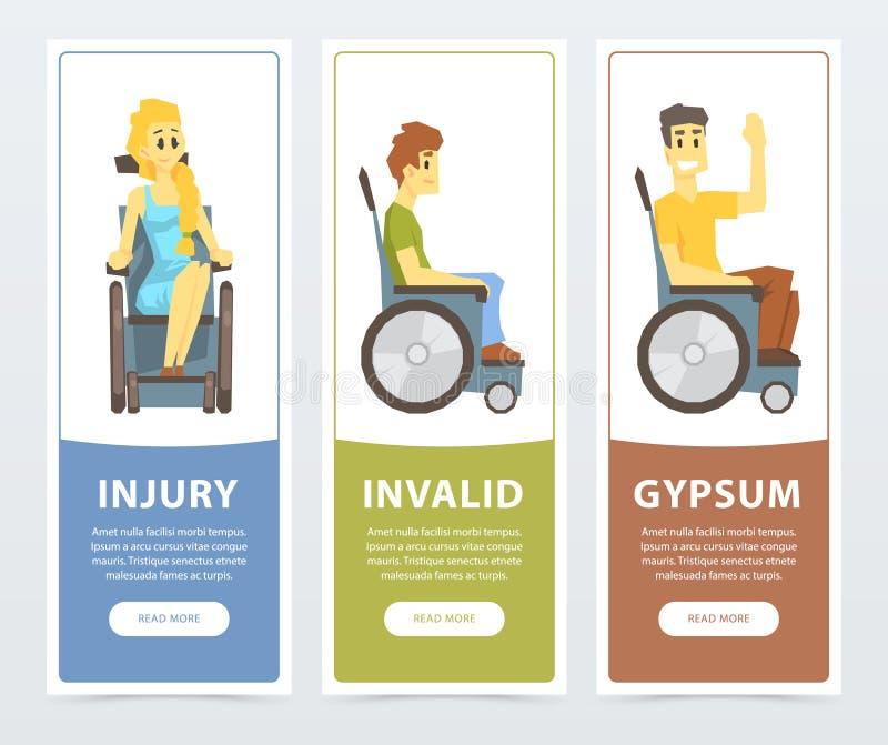 De gehandicapte mensen in rolstoelen banners plaatsen, verwonding, ongeldige, gips vlakke vectorilustrations, element voor websit vector illustratie