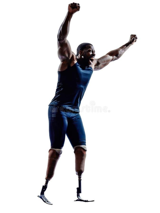 De gehandicapte sprinters van mensenagenten met benenprothese silhouett stock fotografie