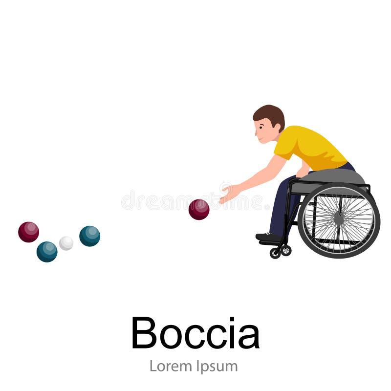 De gehandicapte Vector van de de Sportconcurrentie van Atletenon wheelchair play Boccia stock illustratie