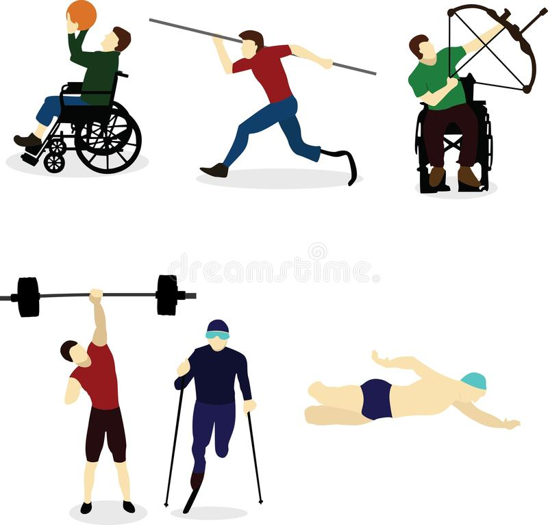 De gehandicapten gaan binnen voor sporten vector illustratie
