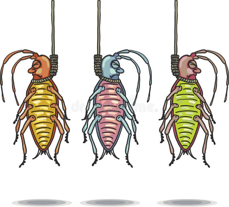 De gehangen dode klem-kunst van de voorns vectorhand getrokken illustratie stock illustratie