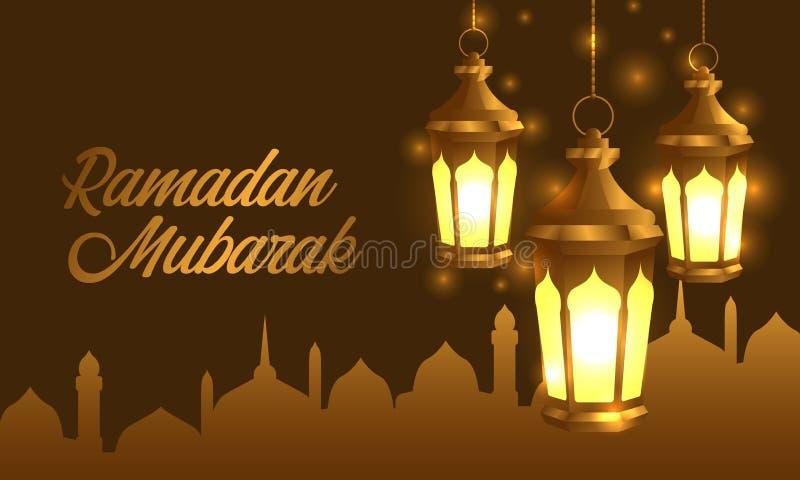 De gehangen lamp van de groeps 3D gouden realistische fanous Arabische lantaarn met de banner van de silhouetmoskee stock illustratie