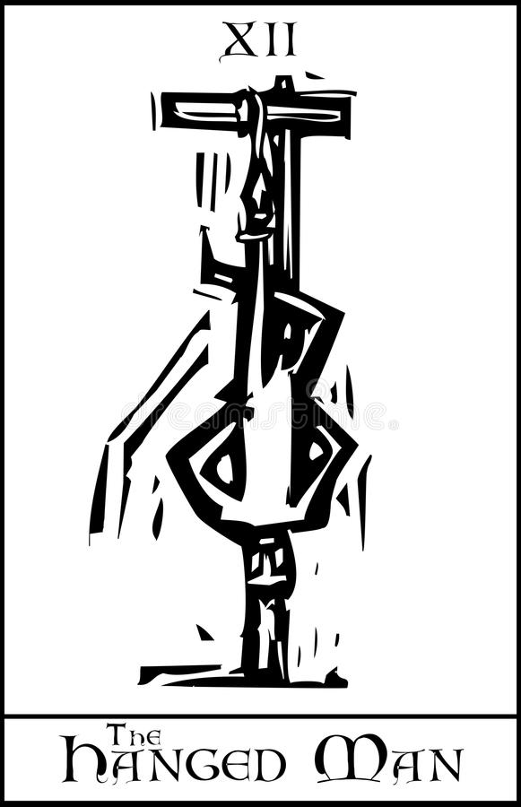 De Gehangen Mens van het tarot Kaart royalty-vrije illustratie