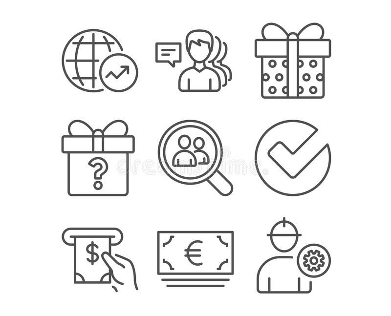 De geheime gift, Onderzoekswerknemers en verifieert pictogrammen Wereldstatistieken, ATM-de dienst en Euro munttekens stock illustratie