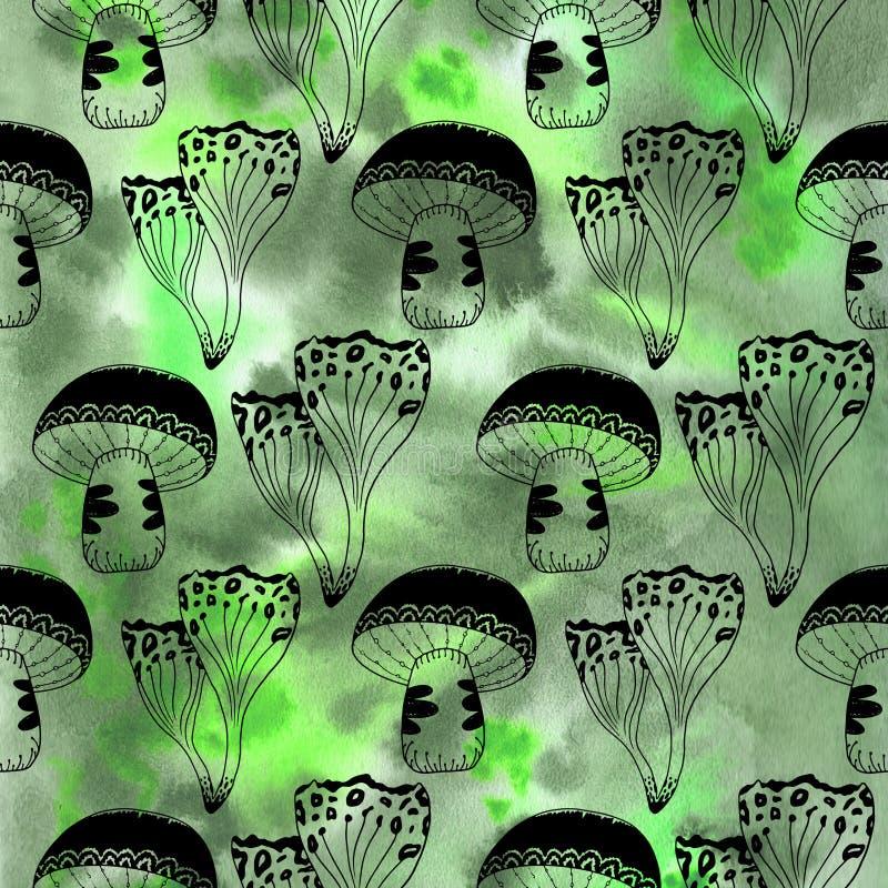 De geheimzinnige boswaterverf schiet naadloos patroon als paddestoelen uit de grond vector illustratie