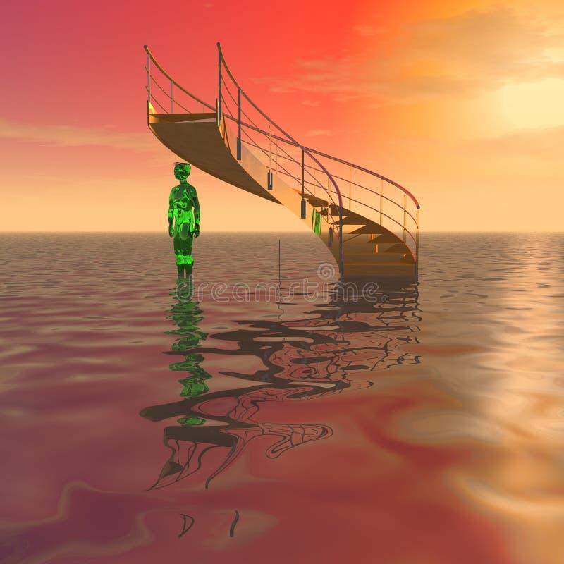 De geheimzinnige trap en een vreemdeling vector illustratie