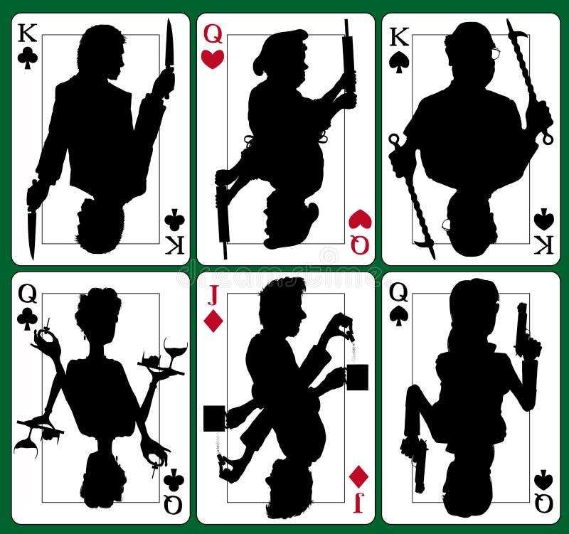 De geheimzinnigheid van de moord kaarten royalty-vrije illustratie