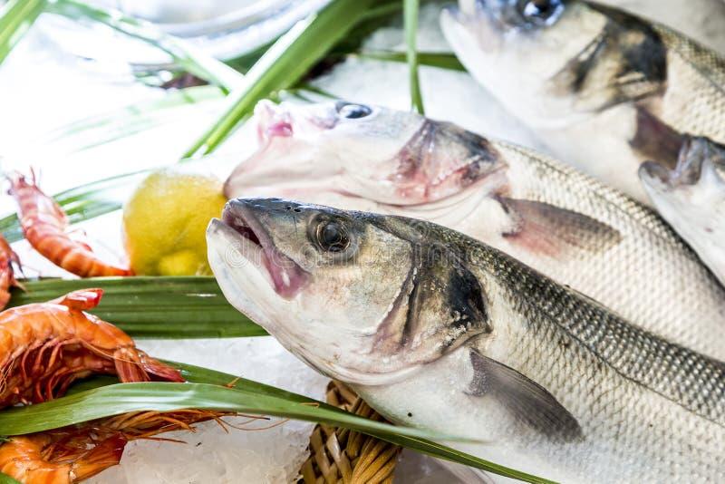 De gehele verse vissen worden aangeboden in de vissenmarkt stock fotografie