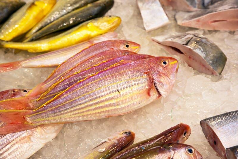 De gehele verse vissen worden aangeboden in de vissenmarkt in Azië stock afbeelding