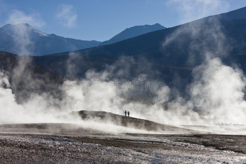 De Geisers van Gr Tatio - Woestijn Atacama - Chili stock afbeeldingen