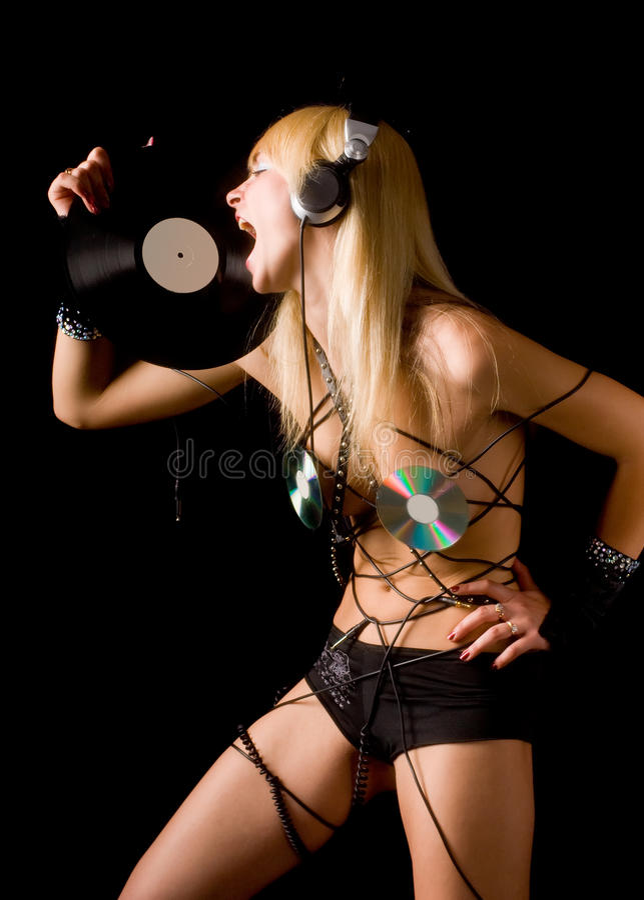 De gekke blonde van DJ royalty-vrije stock fotografie